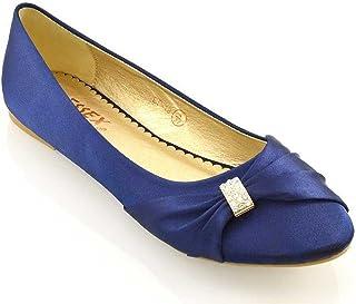 ESSEX GLAM Frauen Flach Ballerinas Damen Schlüpfen Brosche Brautschuhe Party Pumps Schuhe