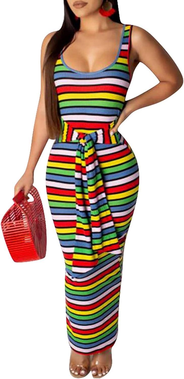 Remelon Womens Casual Summer Tank Sleeveless Ribbed Knit Rainbow Stripe Print Tie Waist Bodycon Party Maxi Long Dress