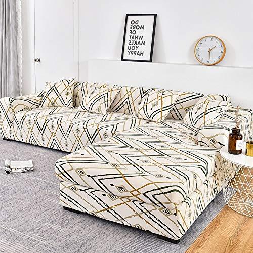 Fundas de sofá elásticas a Cuadros para Sala de Estar para Fundas sofás con Chaise Longue Funda sofá Funda para sillón A19 1 Plaza