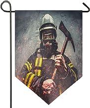 Oarencol Brandweerlieden redding brandweerman man in houdt ijzeren bijl grote huisvlag dubbelzijdig huis tuin decoratieve ...