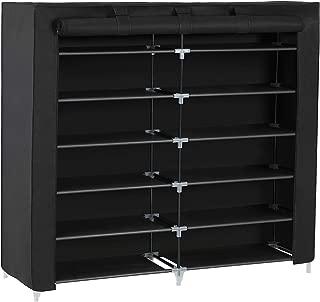 SONGMICS 7 Tiers Portable Shoe Rack Closet with Fabric Cover Shoe Storage Organizer Cabinet Black URXJ12H