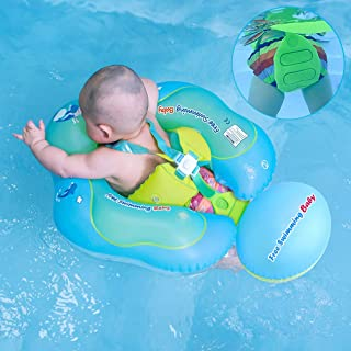 [New Upgrade Version] Inflatable Baby Swimming Float with Safe Bottom Support and Swim Buoy Floats for Safer Swims (Upgrade Blue, XL)