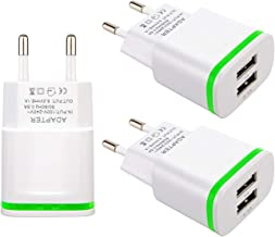 European Plug Adapter, USINFLY Universal Europe Travel Charger 3-Pack 2.1A/5V Europe Dual USB Wall Charger Block for iPhone X 8/7/6/6S Plus, iPad, Samsung Galaxy S8/S7/S6 Edge, Android Phone, More