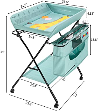 JOYMOR Mobile Baby Changing Table with Wheels, Folding Infant Diaper Table, Diaper Changing Station with Large Storage Basket