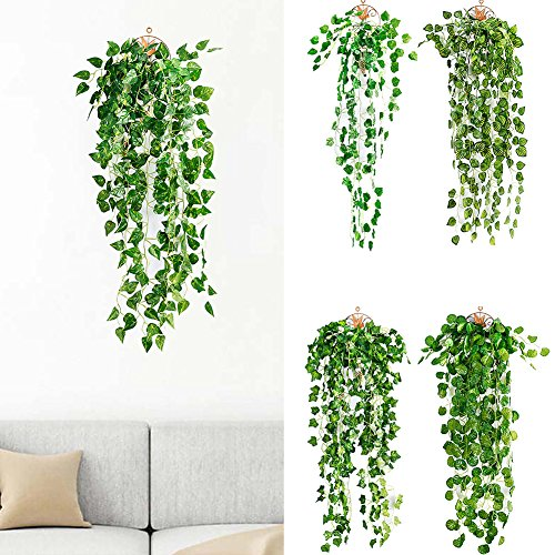 ngratyhJohn Artificial Ivy Garland Green Leaves, Artificial Fake Hanging Vine Plant Leaves Garland Home Garden Wall Decoration - 2#