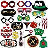 PRETYZOOM Las Vegas Fotomatón Casino Decoración Foto Apoyos Kit Creative Fiestas Totalmente ensamblado 24 Pcs