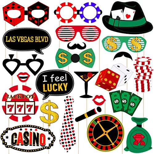 Amosfun Las Vegas Casino Photo Booth Props Las Vegas Night Party Decorations Glitter Selfie Props Creative Party Supplies,Pack of 24