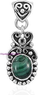 Malachite Pendant, 925 Sterling Silver Pendants for Womens, Oval Gemstone Pendants, Handmade May Birthstone Pendants, Pendants Gift for Halloween
