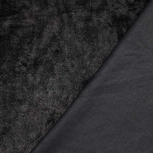 Alpenfleece mit einer glatten Seite Kuschelfleece - 0,5 m - Winterfleece - Breite 153 cm - 320g/m² (Schwarz)