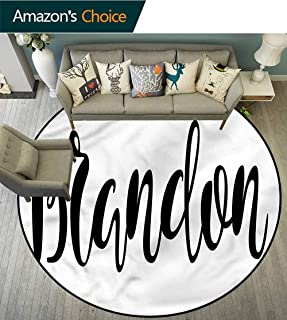 Brandon Bathroom Soft Area Rugs Widespread Name Pattern Stylish Diameter-71