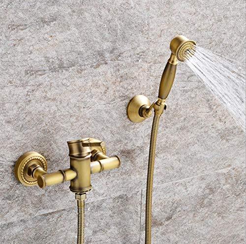 Archaize koperen badkamer pot eenvoudige bloem strooisel waterkraan koud warm douche badkamer mix water ventiel bamboe samen triple suit bad hoofd B