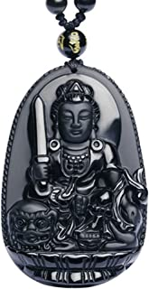 G&T Unisex Jewelry Hand Carved Natural Genuine Obsidian Buddha Pendant Necklace
