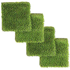 LULIND – Artificial Grass Square Tiles – 12.2 x 12.2 Inch (4 Pack)
