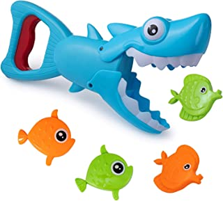 Bath Toys Fun Baby Bathtub Toy Shark Bath Toy for Toddlers Boys & Girls Shark Grabber with 4 Toy Fish Included Shark Grabber (Blue)