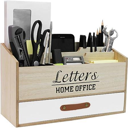 Classeur de bureau avec 5 compartiments et un tiroir, bac à courrier en bois, collecteur à usage unique, classeur