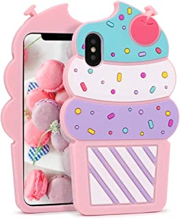 Megantree Cute iPhone X Case, iPhone Xs Case, Funny 3D Cartoon Ice Cream Cupcakes Shaped Soft Silicone Full Protection Shockproof Cases Cover for Girls Kids Women Lady