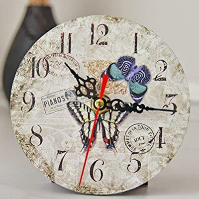 YWYU Creative Wall Clock Mute Movement European Style Clock Metal Pointer AA Battery Powered for Living