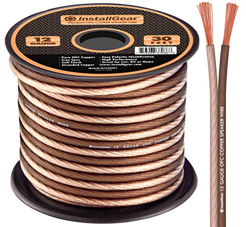 InstallGear 12 Gauge AWG 30ft Speaker Wire 99.9% Oxygen-Free Copper True Spec and Soft Touch Cable - Brown