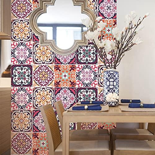 Acmxk Azulejos Adhesivos para Sala de Estar Dormitorio Cocina Baño, Espuma de PVC de Arte 3D DIY Papel Pintado, Impermeable Protector contra Salpicaduras 6 Piezas/Juego