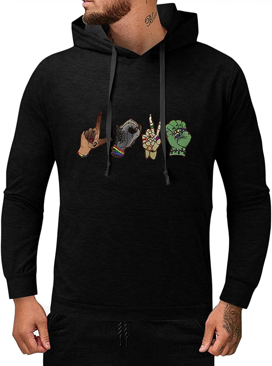 Men's Sweatshirts Graphic Funny Luxury goods Hooded L Solid Max 63% OFF Print