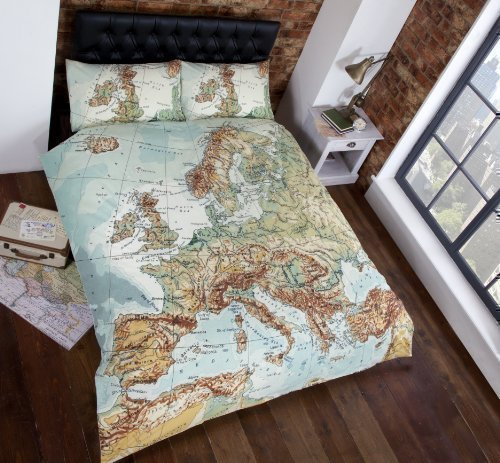 Parure de lit en coton mélangé Motif villes européennes #PAMEGATNIV *RH*