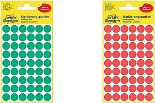 AVERY Zweckform 3143 Markierungspunkte Etiketten, Durchmesser 12 mm, 270 Stück grün  AVERY Zweckform 3141 Markierungspunkte 270 Stück, Durchmesser 12 mm 5 Blatt rot