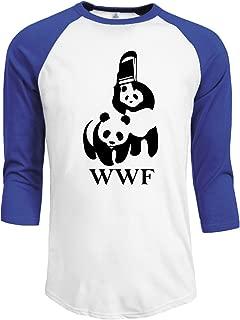 Men's WWF Parody 3/4 Sleeve Raglan Baseball t-Shirt Black