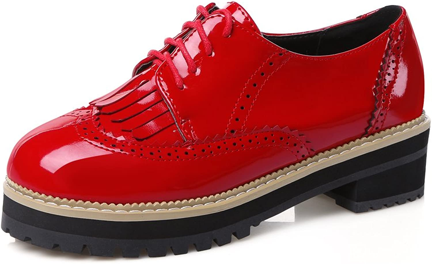 Lucksender Womens Lace Up Low Heels Carving Oxford shoes