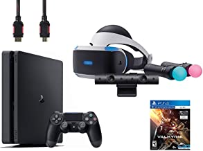 PlayStation VR Start Bundle 5 Items:VR Headset,Move Controller,PlayStation Camera Motion Sensor, Sony PS4 Slim 1TB Console - Jet Black,VR Game Disc PSVR EV-Valkyrie