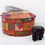 Jaipur Handloom Tradicional Decorativo otomano Pie Taburete cojín, 58x 33cm