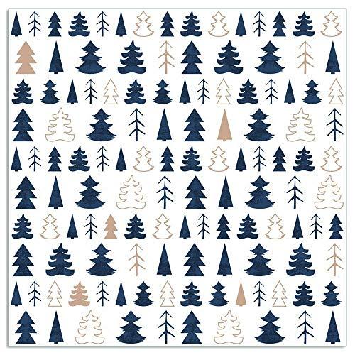 ARTEBENE Serviette Papierserviette Tannenbäume |33 x 33 cm | 20 Stück | 3-lagig | Hochwertige Serviette für das Weihnachtsfest (Blau)