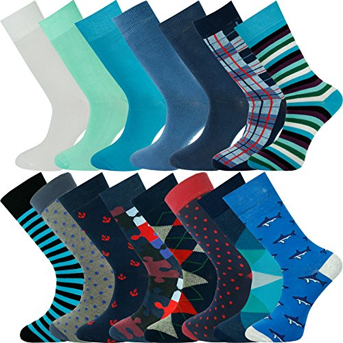 Mysocks® Bulk kopen gekamde katoen heren 15 paar meerkleurig design sokken maat 40-45