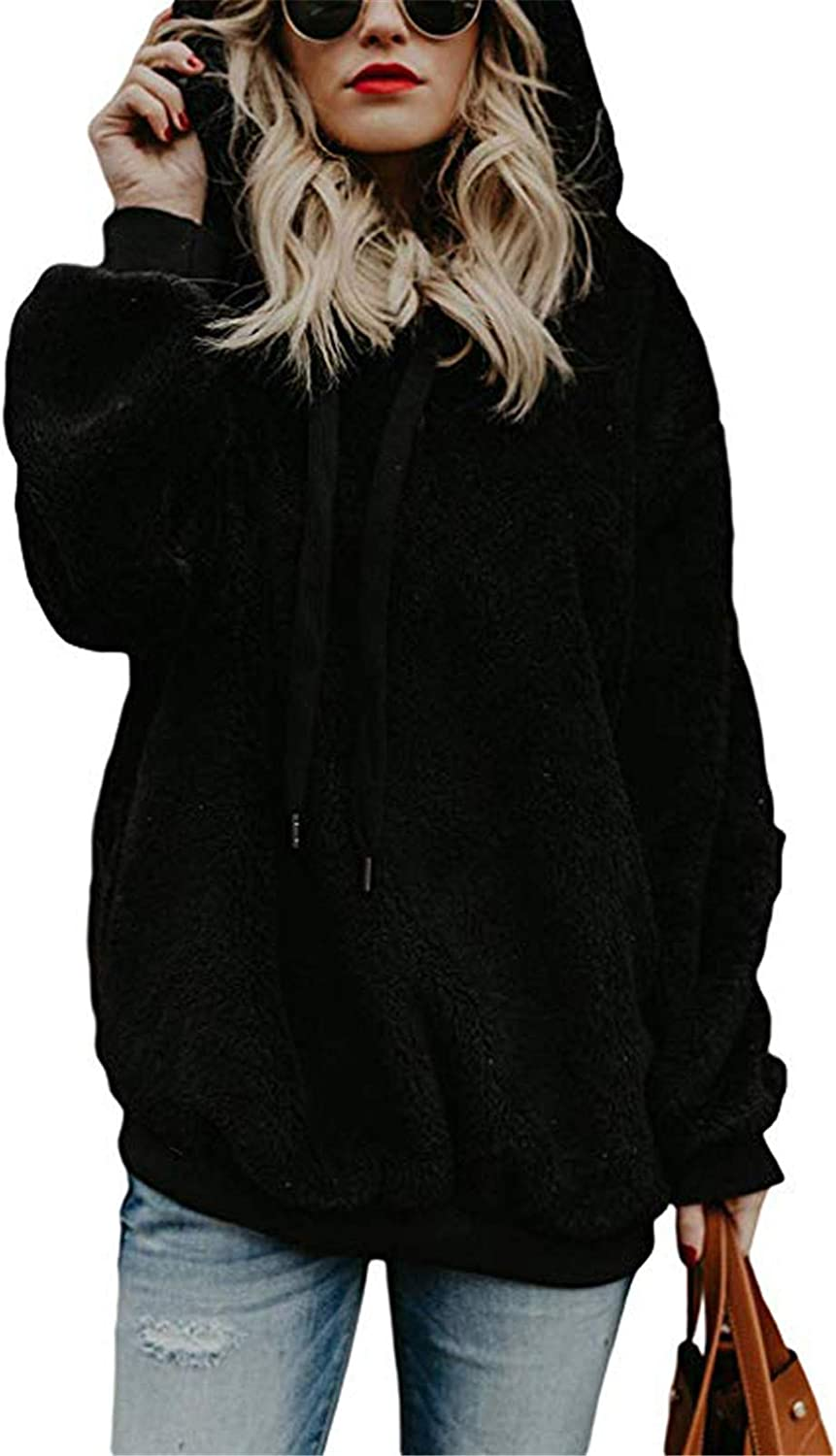 Eoailr Womens Fuzzy Casual Loose with Hooded Pockets Ranking TOP12 Sweatshirt Free Shipping Cheap Bargain Gift