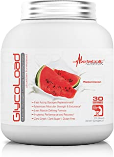 Metabolic Nutrition, Glycoload, 100% Micronized Cyclic Cluster Dextrin Carbohydrate Powder, Muscle Glycogen Loading Carbohydrate, Pre Intra Post Workout Supplement, Watermelon, 600 gm (30 ser)
