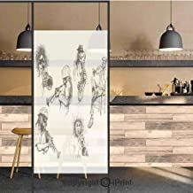 3D Decorative Privacy Window Films,Sketch Image of Jazz Players Playing Instruments Trumpet and Saxophone Music Decor,No-Glue Self Static Cling Glass film for Home Bedroom Bathroom Kitchen Office 24x4
