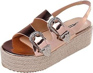 Pandaie Womens ... Sandals Summer Women's Open Toe Sandals Fashion Belt Buckle Flat Sandals Wild Beach Shoe