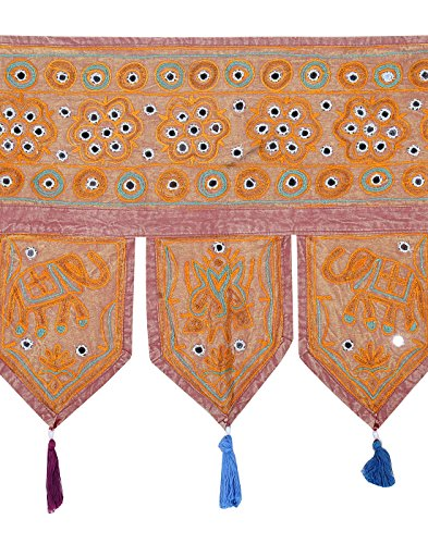 Rajrang - met spiegeleffect - handgemaakte deurhanger, deurdecoratie - om op te hangen - olifant katoen bruin toran