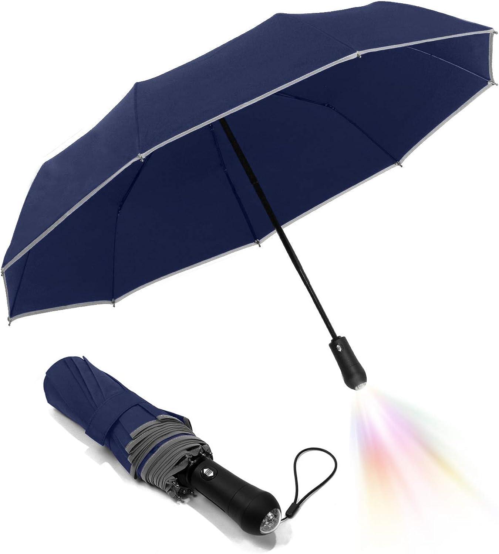 Folding Auto Waterproof Led Umbrella Light-9k Fiberglass Ribs Reflective Safety Tape Flashlight Handle Men Women