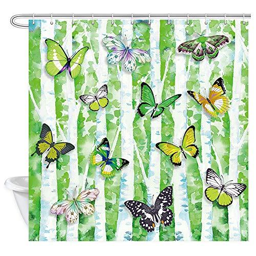 DYNH Duschvorhang, Schmetterlinge auf Frühlingsbaum, Duschvorhang aus Polyester mit Schmetterlingen & Schmetterlingen für Bad, Duschvorhang, Badezimmerzubehör, 12x 177,8 cm