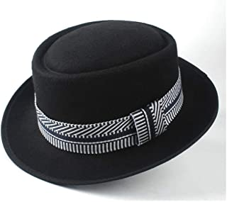 2019 Mens Womens Hats Unisex Men Women Flat Top Pop Church Soft Autumn Winter Flat Top Hat Winter Wide Brim Hat Friend Party Hat Wool Trilby Fedora Hat (Color : Black, Size : 58)