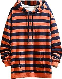 IFOUNDYOU Mens Hoodies, Men Autumn Winter Tops Long Sleeve Striped Hoodie Outwear Sweatshirt Gyms Sweater Coat Men's Pocke...