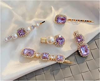 5 Pcs Vintage Crystal Pearl Gold Bobby Hair Pins - Decorative Side Hair Clips Accessories for Women Hair Styling (Romantic...