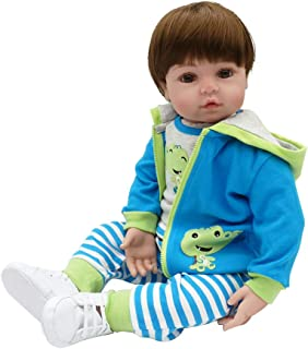 Realistic Doll 26inch for 2 Year Old Boy Cute Baby Silicone Full Body Cartoon Crocodile Clothes Stripes Pants Hooded Coat Shoes Early Childhood Kids Toys Best Birthday