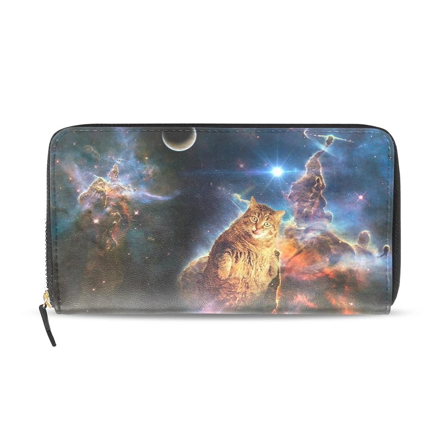 好む天皇惑星GORIRA(ゴリラ) 星雲の太る猫 長財布 レディース ダブルサイド印刷 ファスナー開閉式 ウォレット