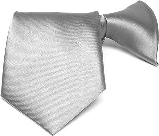 """TieMart Boys' Silver Solid Color Clip-On Tie, 14"""" Length"""