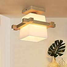 ZMH plafondlamp hal plafondlamp hout en glas hanglamp E27 plafondspot retro plafondlamp voor gang/woonkamer/kantoor/café 3...