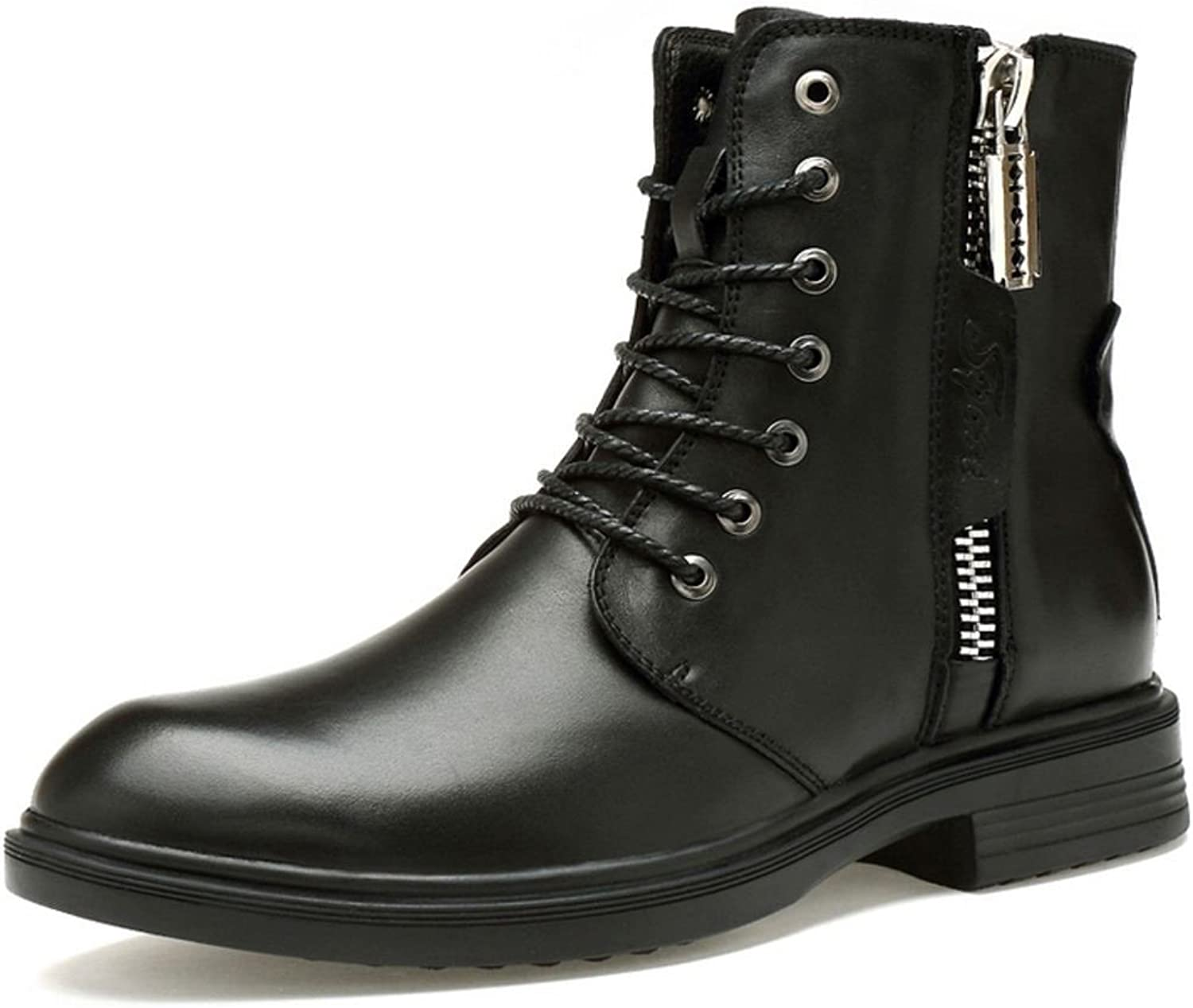 TAOFFEN Men's Combat Boots Lace Up Winter shoes