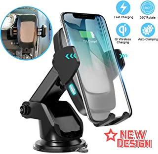 DYK Wireless Car Charging Mount Automatic Clamp, Qi 10W 7.5W Fast Charging Air Vent Windshield Dashboard Phone Holder - Compatible with iPhone Xs,Max,XR,8 Samsung S10,S9,S8, Note8,9 Pixel LG Android
