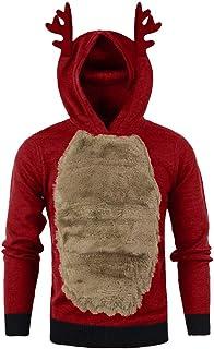 TUSANG Men Hoodies Sweatshirts Autumn Winter Xmas Hoody Reindeer Feather Hooded Christmas Fur 3D Blouse Top