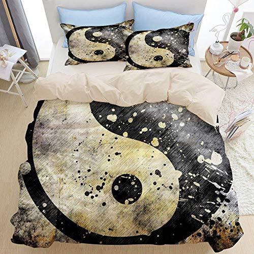 Juego de ropa de cama de 3 piezas, Ying Yang Grunge Paint Splash Effect Decoración asiática industrial Duality Zen, Juego de funda nórdica con cremallera de lujo moderno La última funda de edr